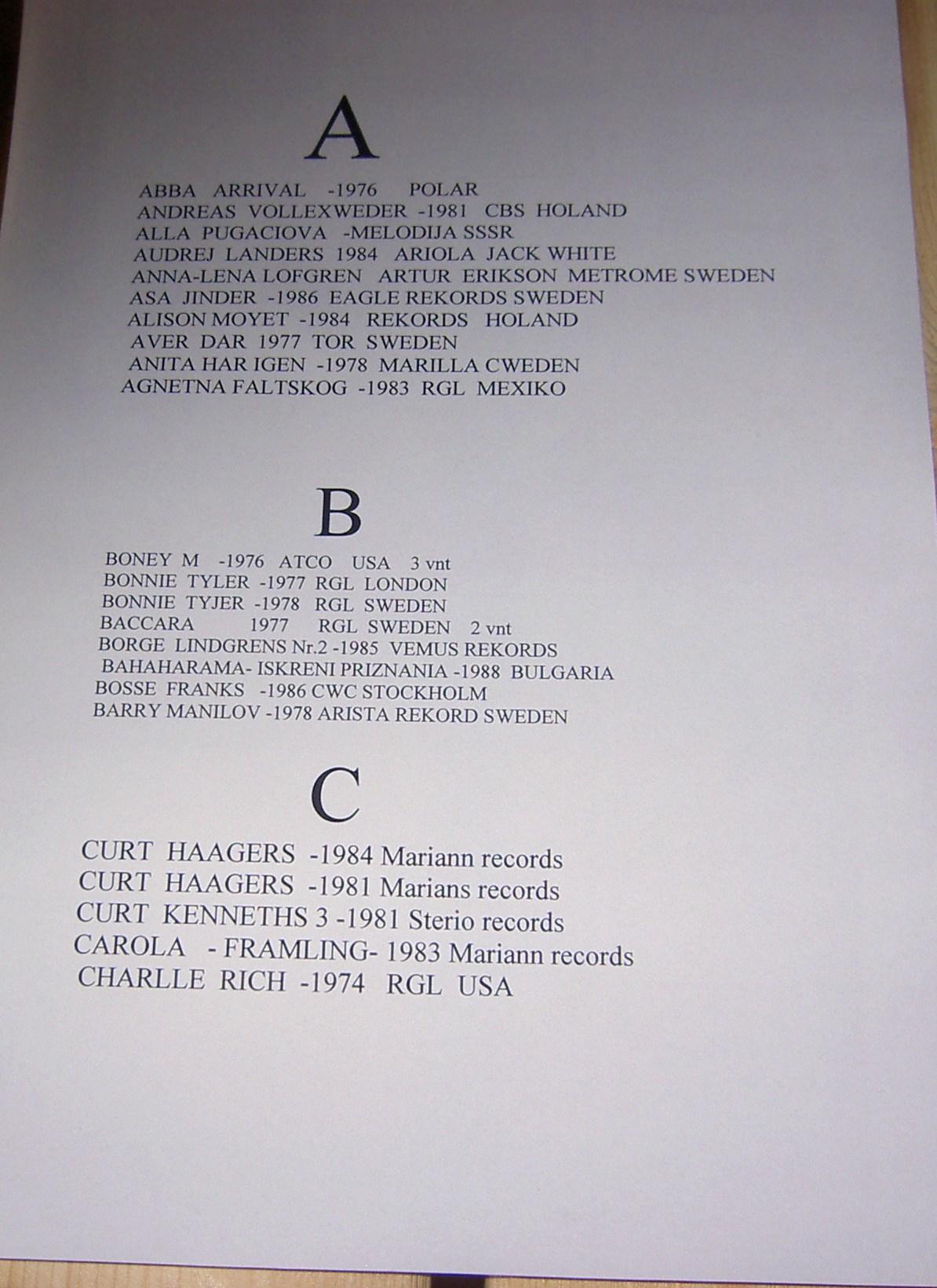 vinilinės plokštelės A.B.C